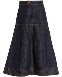 Wales Bonner Vision Denim Midi Skirt - Blue
