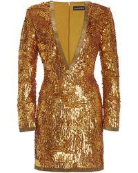 retroféte Paisley Sequined Mini Dress - Metallic