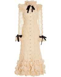 Zimmermann Lucky Ruffled Cotton-blend Lace Maxi Dress - White