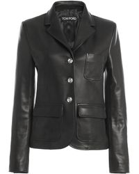 Tom Ford Single-breasted Cropped Leather Jacket - Black