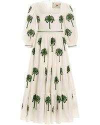 Agua by Agua Bendita Miel Cocora-embroidered Cotton-poplin Midi Dress - White