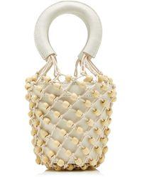 STAUD Moreau Beaded Mini Leather Bucket Bag - Metallic