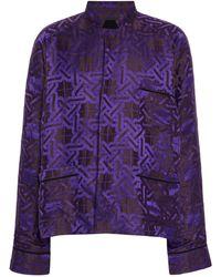 Haider Ackermann Printed Linen-silk Pyjama Top - Purple