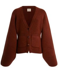 Khaite Scarlet Oversized Puff-sleeve Cashmere Cardigan - Brown