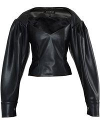 ANOUKI Vegan Leather Corset Blouse - Black