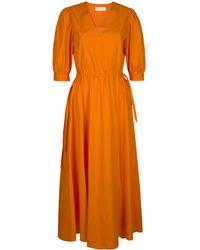 MYKKE HOFMANN Korva Drawstring-detailed Cotton Poplin Maxi Dress - Orange