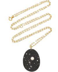 CVC Stones One-of-a-kind Aurora 18k Gold Beach Stone Necklace - Black
