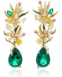 Anabela Chan Exclusive Posie 18k Yellow Gold Multi-stone Earrings - Green