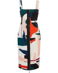 Cushnie et Ochs Orlena Sleevless Exposed Zip Pencil Dress - Multicolour