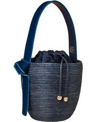 Cesta Collective Lunchpail Velvet-trimmed Sisal Bucket Bag - Blue