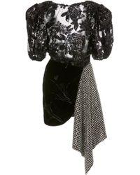 Daniele Carlotta Draped Velvet & Lace Mini Dress - Black