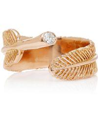 Daniela Villegas Wing 18k Rose Gold Diamond Ring - Metallic