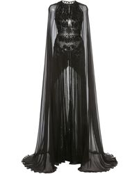 Zuhair Murad Embellished Cape-sleeve Silk-chiffon Gown - Black