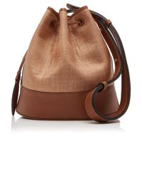 Hunting Season Leather-paneled Raffia Shoulder Bag - Brown