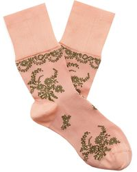 Simone Rocha Lace-accented Ankle Socks - Pink