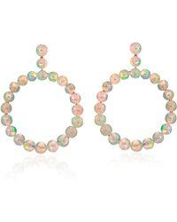 Nina Runsdorf M'o Exclusive: One-of-a-kind Opal Bead Frontal Hoop Earrings - White