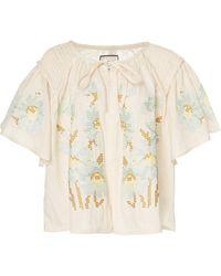 Innika Choo Oliver Daily Smocked Linen Top - Multicolour