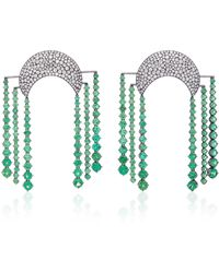 Lauren X Khoo Cosmic Dynasty 18k Gold And Tsavorite Garnet Chandelier Earrings - Green