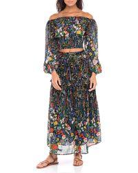 brand: Banjanan Vivan Floral Cotton-voile Top - Black