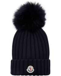 Moncler Fur-trimmed Ribbed-knit Wool Beanie - Blue