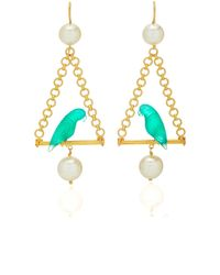 Marie-hélène De Taillac Renaissance Parrots Earrings - Green
