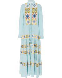Carolina K Natalie Printed Maxi Dress - Blue