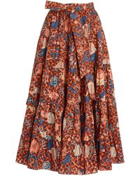 Ulla Johnson Sigrid Floral Cotton Midi Skirt - Red