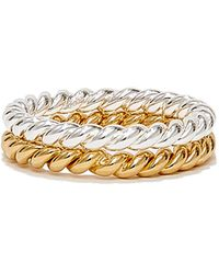ISABEL LENNSE Twisted Sterling Silver And Gold-plated Ring Set - Metallic