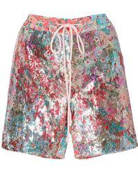 Prabal Gurung Floral Sequin Shorts - Pink