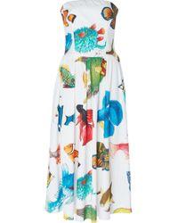 Stella Jean | Pleated Strapless Dress | Lyst