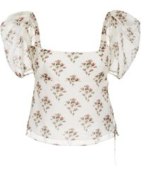 Brock Collection Floral-print Cotton-silk Top - Multicolour