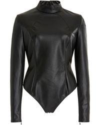 AMINA MUADDI X Wolford Vegan Leather Turtleneck Bodysuit - Black