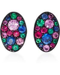 Colette | Baby Les Chevalieres 18k Black Gold Gemstone Earrings | Lyst