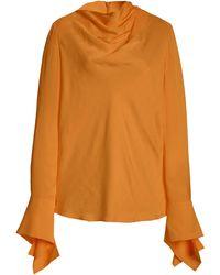 Acler Hernshaw Draped Georgette Top - Orange
