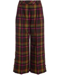 Ralph & Russo Ralph & Russo Check Wool Tailored Culottes - Green