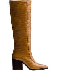 Aeyde Charlie Croc-embossed Leather Knee-high Boots - Yellow