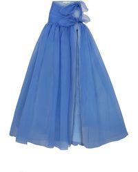 RAISA & VANESSA Organza Wrap Maxi Skirt With High Slit - Blue