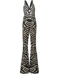 Naeem Khan Sequin-embellished Zebra-printed Chiffon Jumpsuit - Black