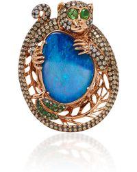 Wendy Yue - 18k Rose Gold, Opal, Diamond And Tsavorite Ring - Lyst
