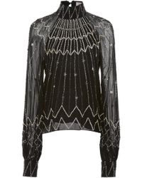 Temperley London - Mockneck Embellished Georgette Blouse - Lyst