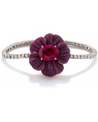 Irene Neuwirth One Of A Kind Tropical Flower Bracelet Set With Ruby An - Red