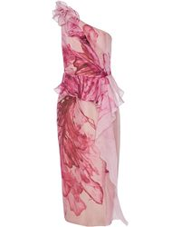 Marchesa Floral-print One-shoulder Silk Peplum Dress - Pink