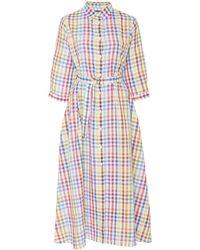 MDS Stripes Picnic Gingham Shirt Dress - Blue