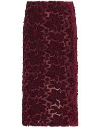 Galvan London - Rosa Floral-devoré Velvet Pencil Skirt - Lyst