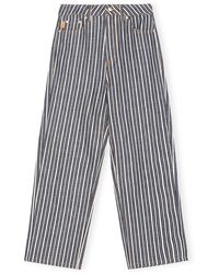 Ganni Mixed Stripe High-waisted Cropped Jeans - Blue