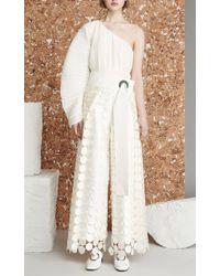 Solace London White Hallie Circle Lace Pants - Multicolor