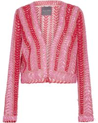 Monique Lhuillier - Embellished Cropped Cardigan - Lyst
