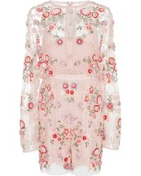 Needle & Thread Meadow Floral Embroidered Playsuit - Pink