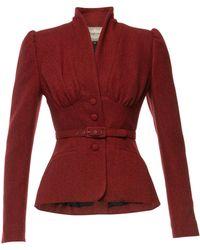 Lena Hoschek Love Letter Belted Wool Jacket - Red