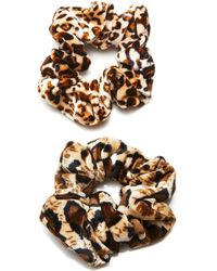 8 Other Reasons Set-of-two Cheetah-print Velvet Scrunchies - Brown